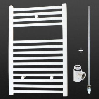 Ultraheat Chelmsford 764 x 500mm Straight White 500w Dual Fuel and Electric Heated Bathroom Towel Warmer